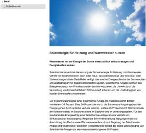 Erläuterung Solarthermie