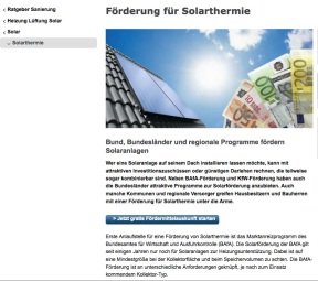 Förderung für Solarthermie